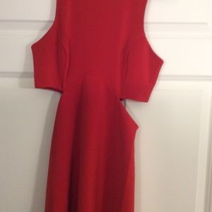 Red express cut out dress